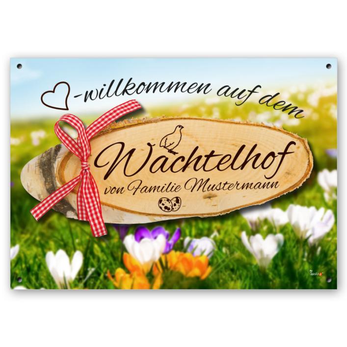 Premium Wachtel-Schild - A3
