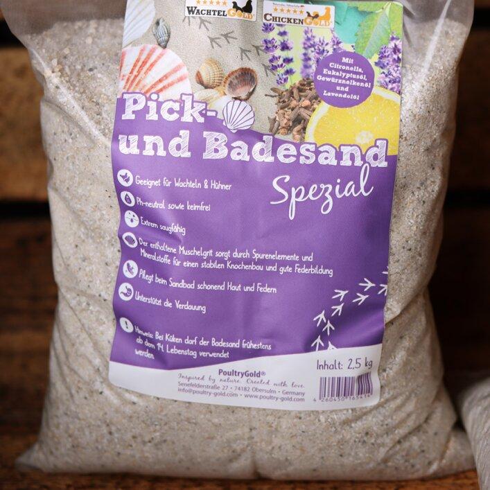 Sand, Badesand, Picksand, Grit, saugfähig, Muschelgrit, Mineralien, Haut, Federn, Verdauung, ph-neutral, Citronella, Eukalyptus, Citronella, Lavendel, Gewürznelke