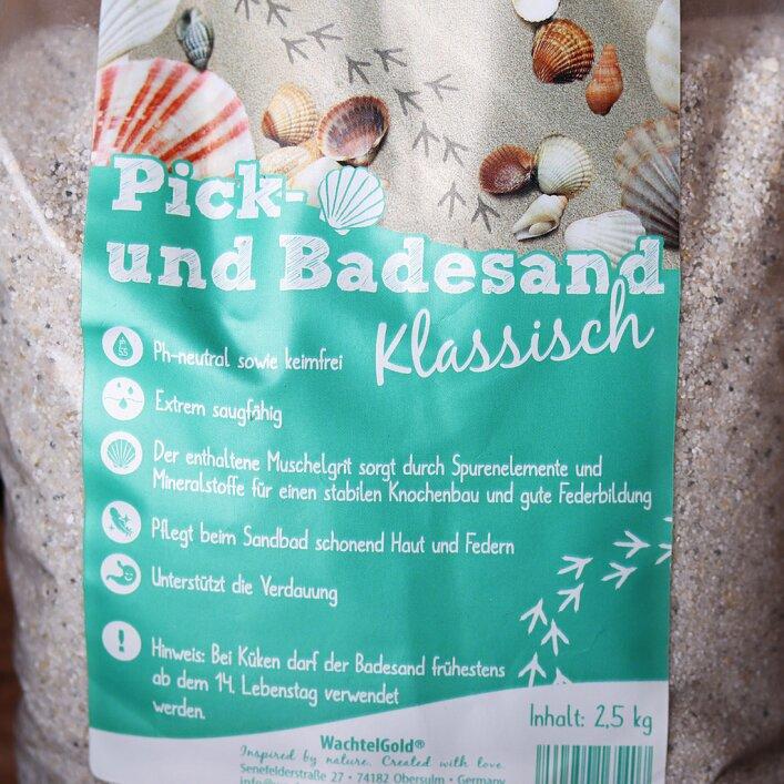 Sand, Badesand, Picksand, Grit, saugfähig, Muschelgrit, Mineralien, Haut, Federn, Verdauung, ph-neutral