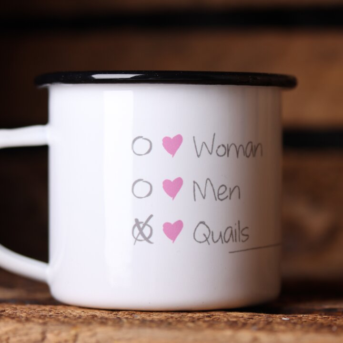 "Emaille Tasse ""I choose quails"" | Quailzz®"